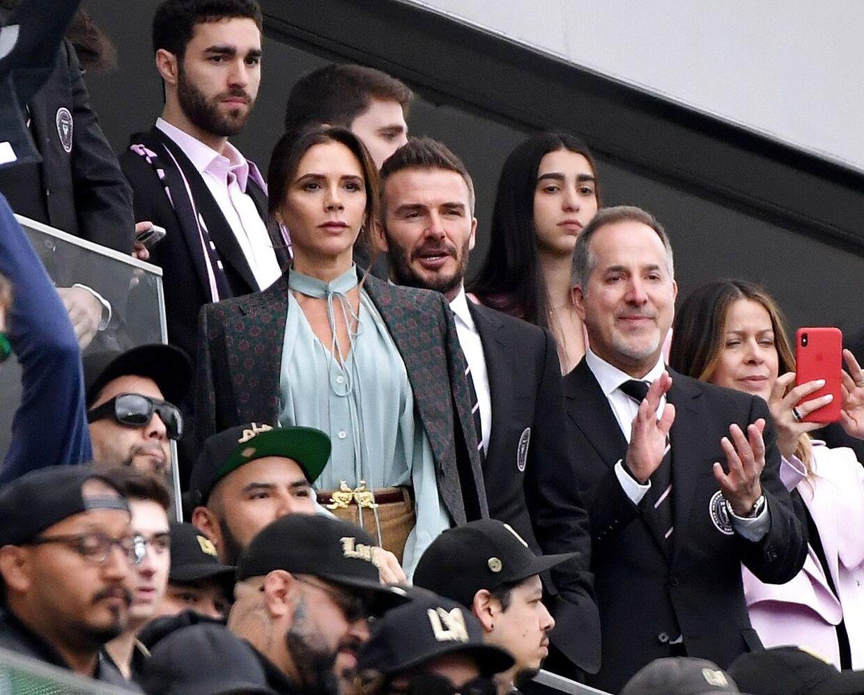 David og Victoria Beckham før hans fodboldklub Inter Miami CF mødte Los Angeles FC i Californien i marts 2020. Foto: Harry How/Getty Images/AFP