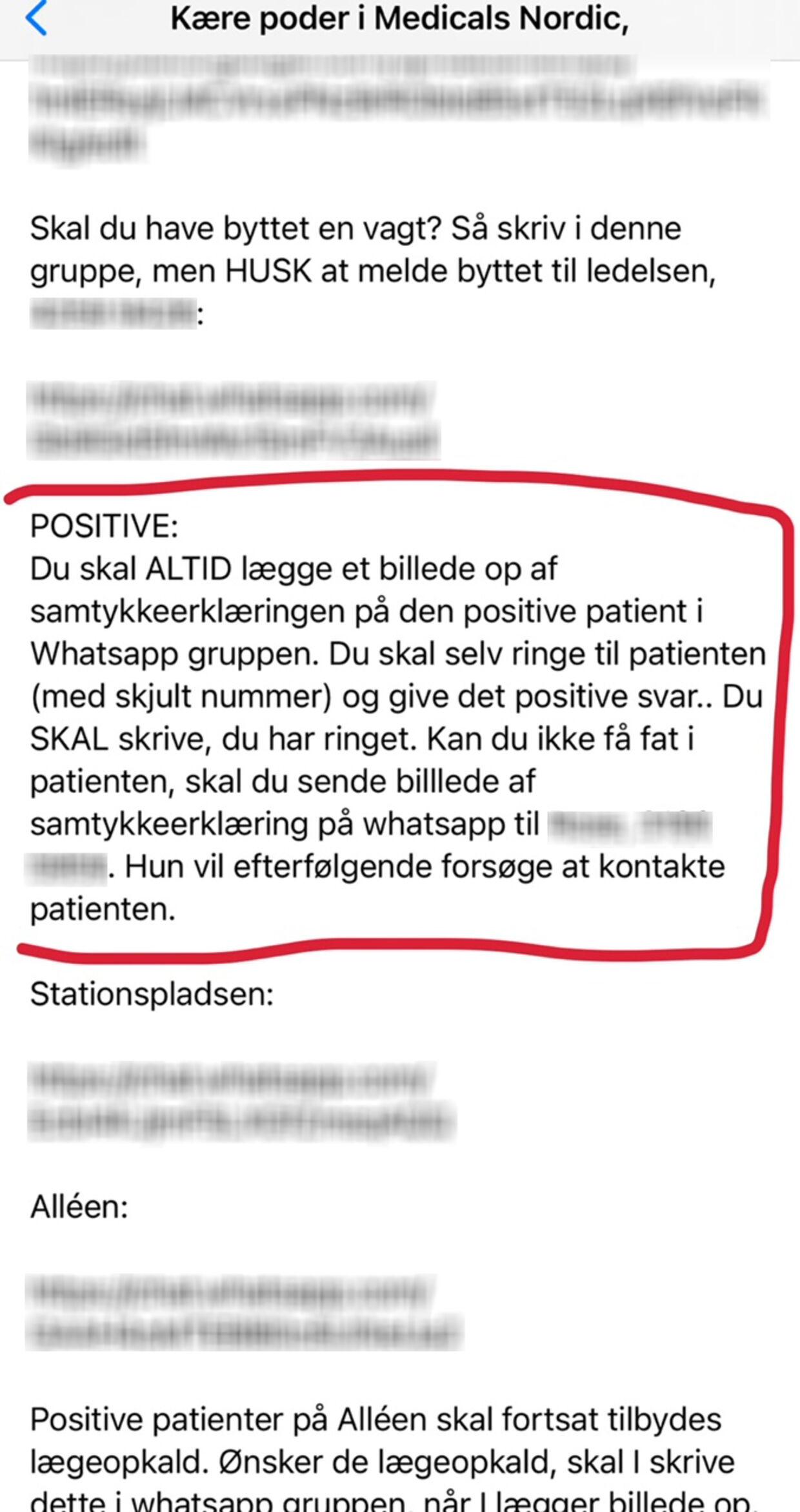 Sms fra ledelsen på det givne Medicals Nordic-testcenter, hvor poderne bliver instrueret i at lægge billeder af oplysningerne ind i WhatsApp-gruppen. Nedenunder er invitationslink til et par af grupperne sløret.