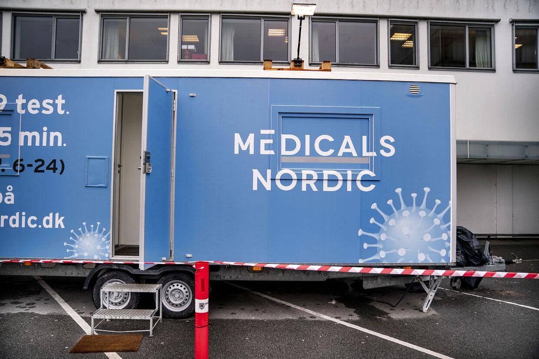 Medicals Nordic testcenter ved Kongevejscentret i Hørsholm, mandag den 25 janaur 2021. Medicals Nordic, der står for test ved nogle af SOS Internationals centre, oplyser i en pressemeddelelse, at firmaet øjeblikkeligt stopper brugen af WhatsApp, når der internt kommunikeres om positive testresultater.