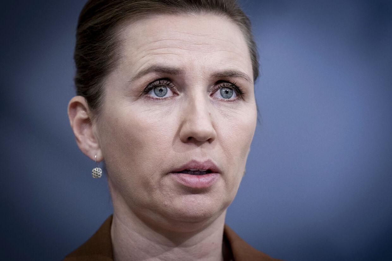 Statsminister Mette Frederiksen udtalte på et pressemøde 4. november, at alle mink i Danmark skulle aflives, efter der var fundet en farlig corona-variant i mink, som havde spredt sig til mennesker. (Foto: Liselotte Sabroe/Scanpix 2021)