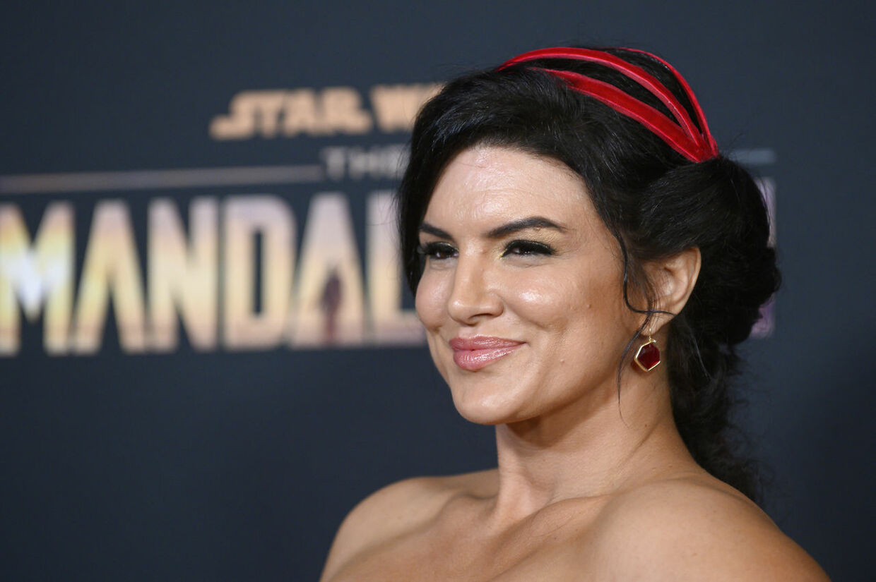 "US actress Gina Carano arrives for Disney+ World Premiere of ""The Mandalorian"" at El Capitan theatre in Hollywood on November 13, 2019.  Nick Agro / AFP"