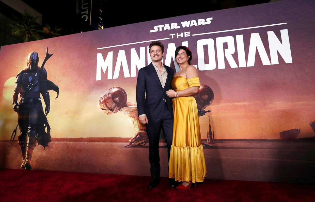 "Cast members Pedro Pascal and Gina Carano pose at the premiere for the television series ""The Mandalorian"" in Los Angeles, California, U.S., November 13, 2019. REUTERS/Mario Anzuoni"