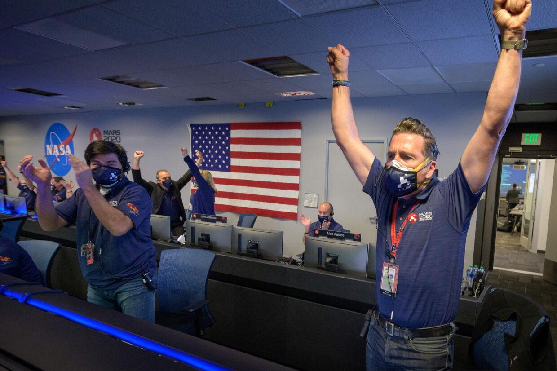 Det skabte glæde hos Nasa, da Perseverance torsdag aften landede planmæssigt på Mars. Bill Ingalls/Ritzau Scanpix