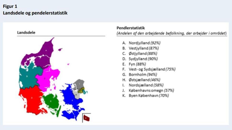 Her er de 11 grupper, som Danmark er inddelt i. Gruppeopdelingen kommer fra Danmarks Statistik, hvor den økonomiske sammenhæng blandt andet er beregnet ud fra pendlerstatistikken. Foto: Danmarks Statistik.