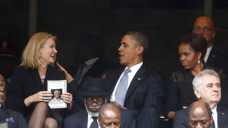 Obama og Thorning så ud til at hygge sig gevaldigt i hinandens selskab.