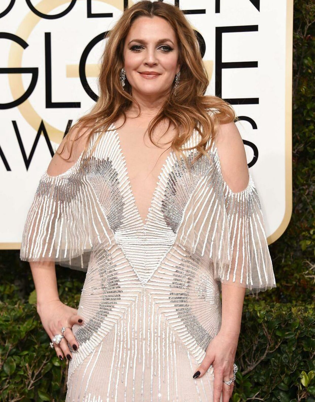Drew Barrymore til Golden Globe Awards i januar 2017.