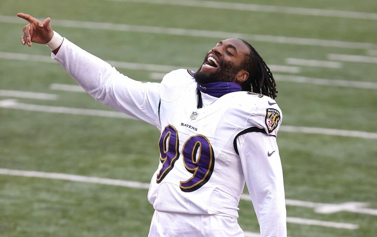 CINCINNATI, OHIO - JANUARY 03: Matthew Judon #99 of the Baltimore Ravens celebrates after the win against the Cincinnati Bengals at Paul Brown Stadium on January 03, 2021 in Cincinnati, Ohio. Andy Lyons/Getty Images/AFP == FOR NEWSPAPERS, INTERNET, TELCOS & TELEVISION USE ONLY ==