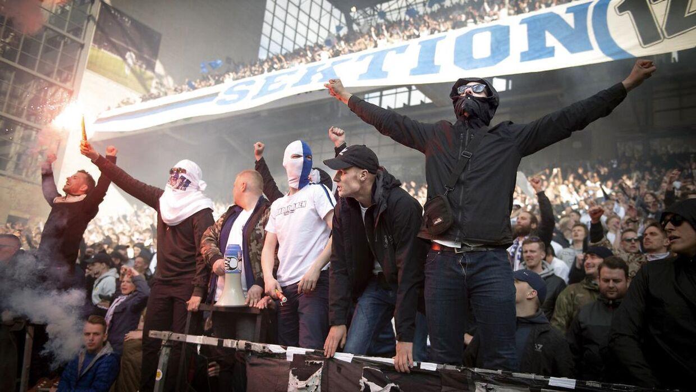 FCK-fans under Superliga-kampen mellem FC København og Brøndby I i Parken søndag 5. maj 2019.
