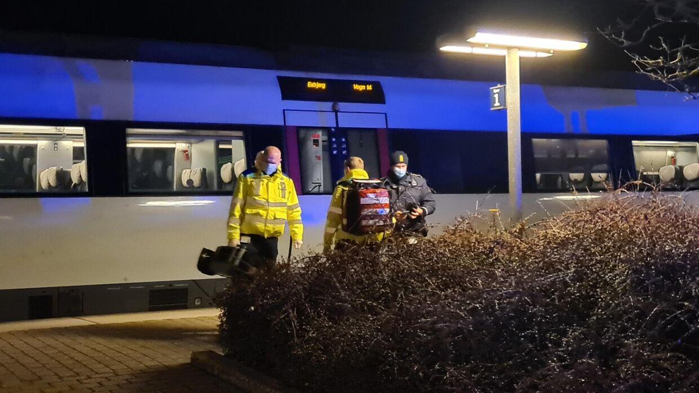 Toget var på vej mod Esbjerg, da det måtte holde en længere pause på Lunderskov Station. Foto: Presse-foto.dk