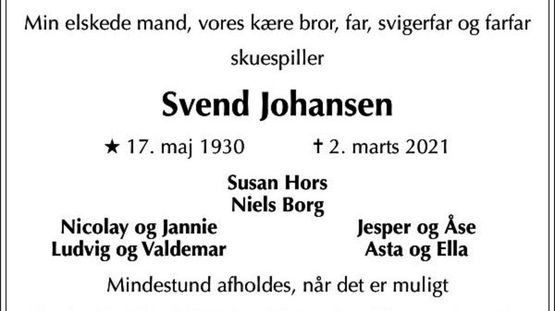 Skuespiller Svend Johansen er død i en alder af 90 år.