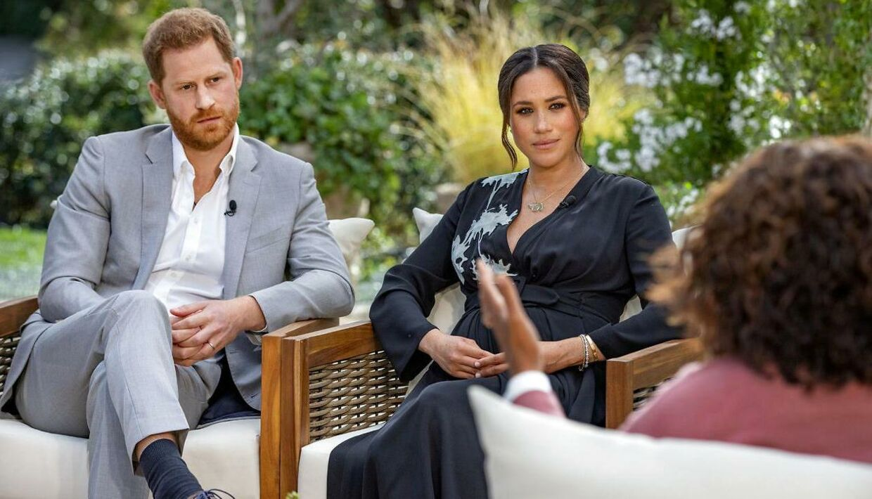Prins Harry og Meghan under interviewet med Oprah.