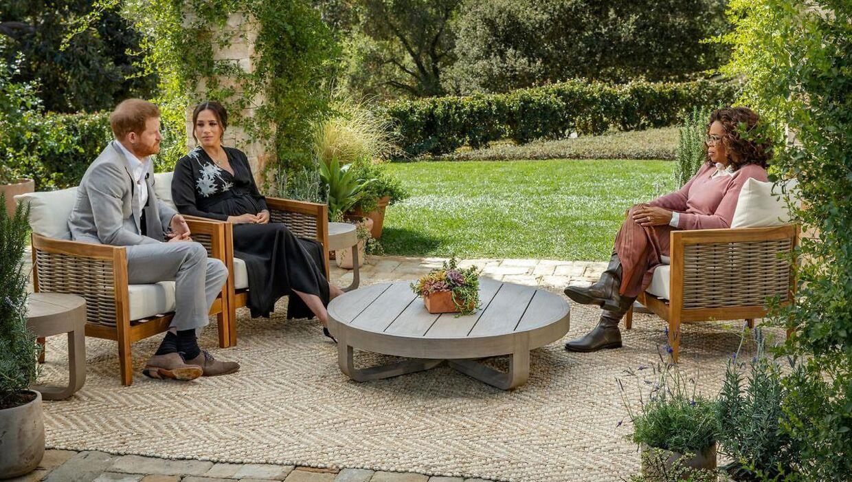 Prins Harry og Meghan under interviewet med Oprah Winfrey.