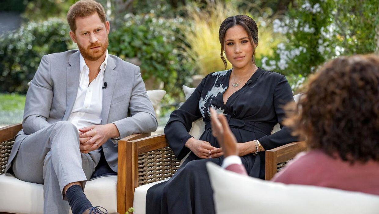 Prins Harry og Meghan under interviewet med Oprah.