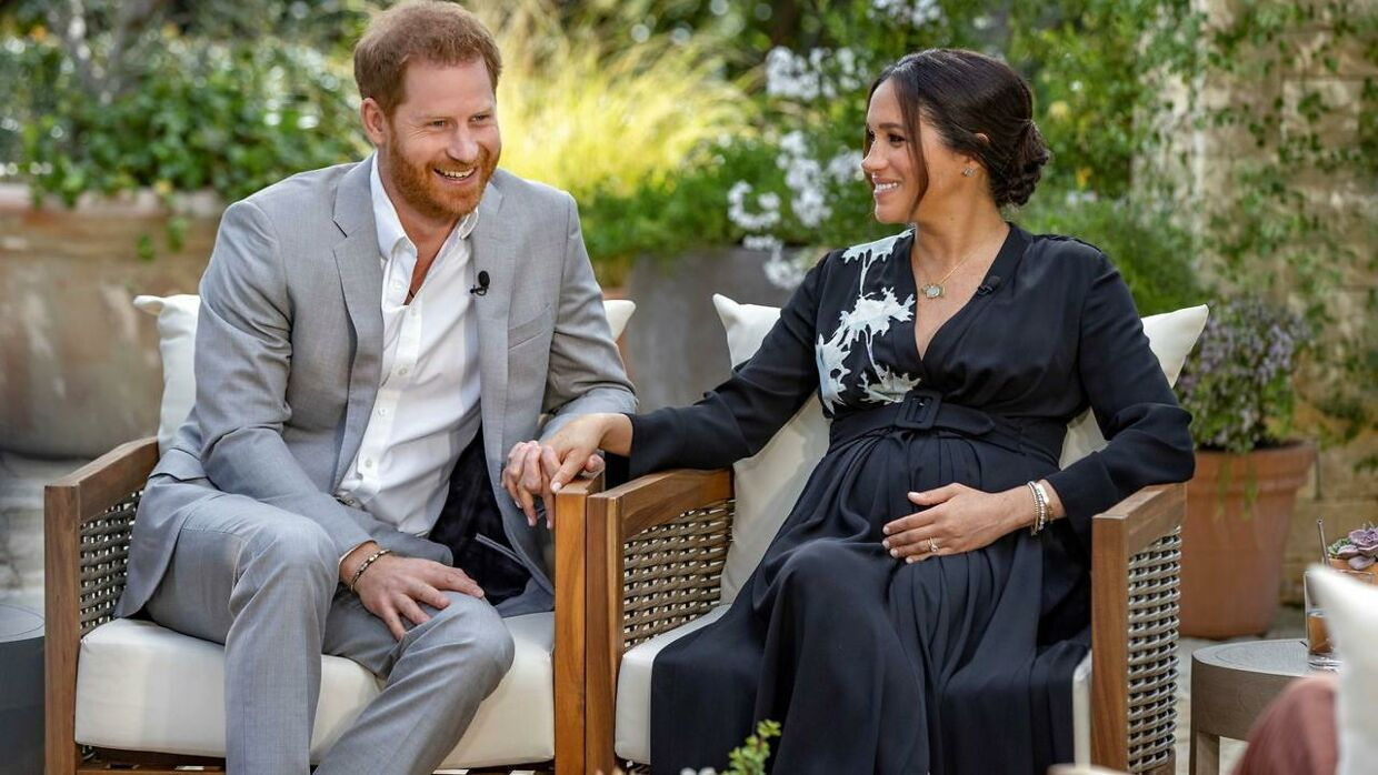 Prins Harry og Meghan under interviewet med Oprah Winfrey.