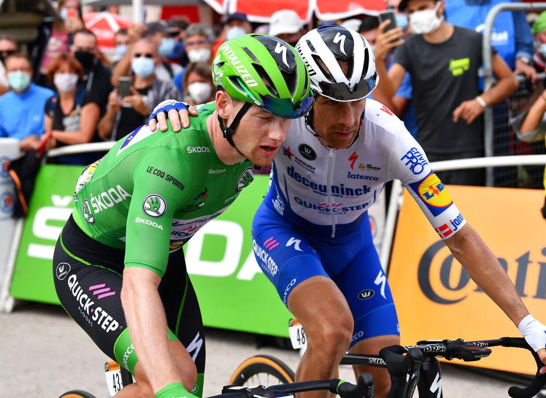 Michael Mørkøv (th.) og Sam Bennett udgør et stærkt makkerpar. Her ses de ved Tour de France 2020.