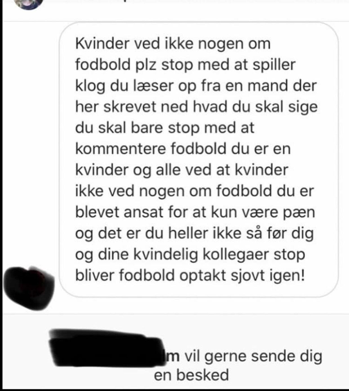 En anden af de beskeder, Helle Smidstrup har modtaget.