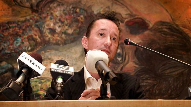 Jesper Skibby på pressemøde i 2006, hvor han fortæller om bogen 'Jesper Skibby – Forstå mig ret'. I bogen indrømmede han sit omfattende dopingmisbrug.