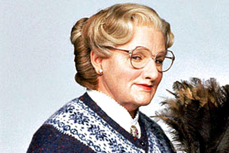 Robin Williams som Mrs. Doubtfire.