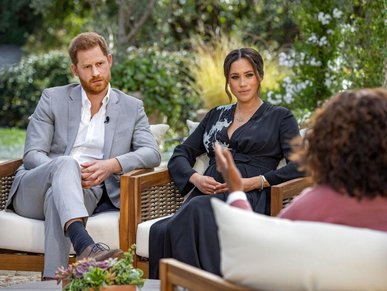 Harry og Meghan under det famøse interview med Oprah Winfrey.