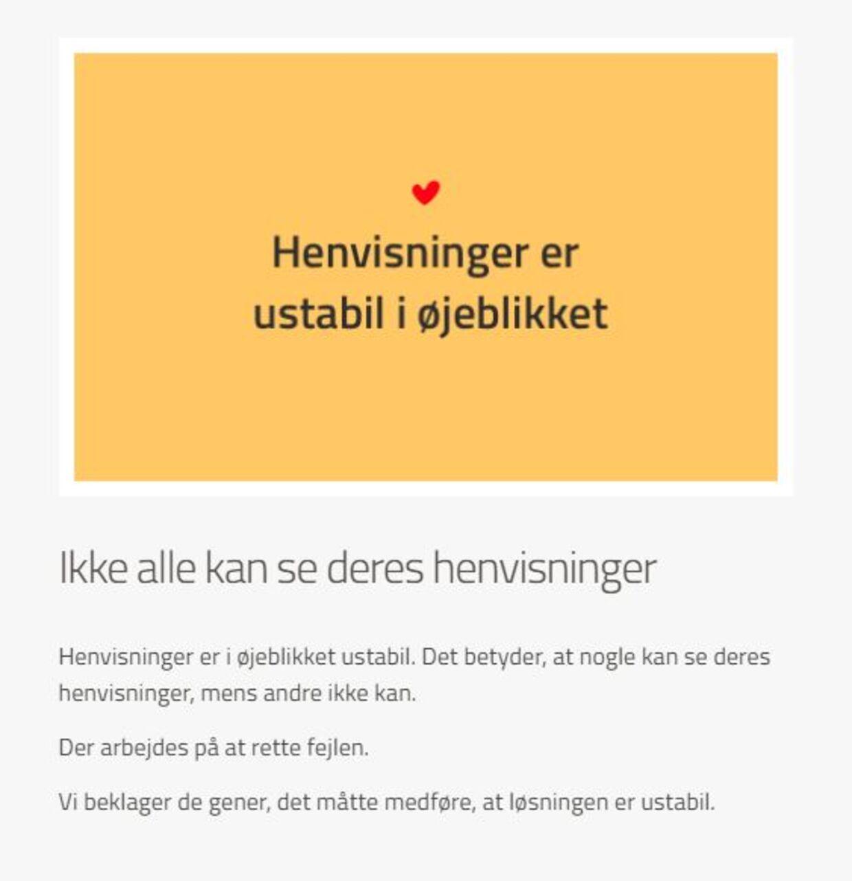 Du mødes tirsdag morgen af denne besked, når du logger på Sundhed.dk. B.T.'s journalist kunne ikke tilgå sine corona-testsvar.