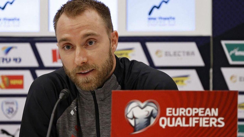 Christian Eriksen på pressemødet, der foregik over Zoom.