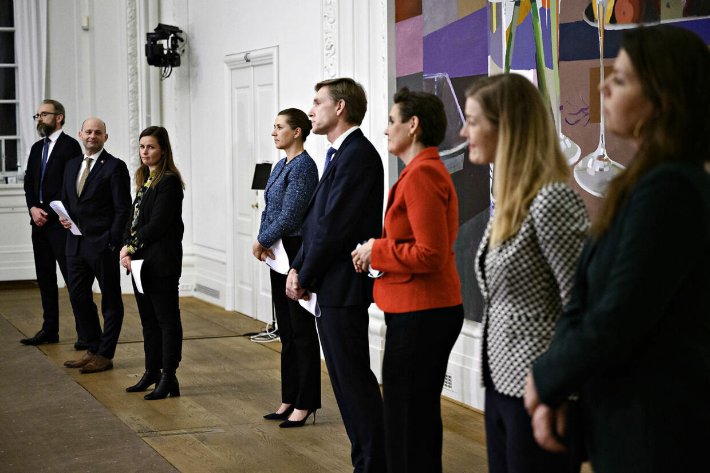 22. marts stod partilederne på ræd og række og præsenterede den nye genåbningsplan, som vaccinepasset er omdrejningspunktet for. Foto: Foto: Philip Davali/Ritzau Scanpix