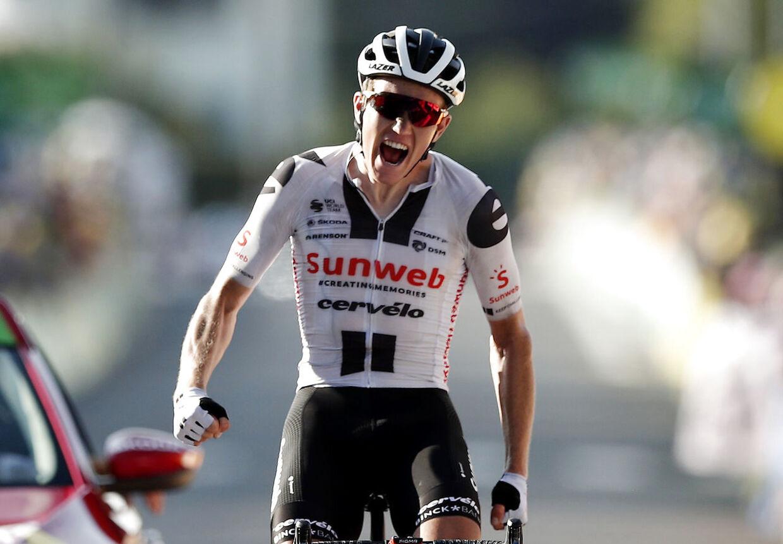 Giga-triumf: Søren Kragh Andersen henter sin anden etapesejr ved Tour de France 2020.