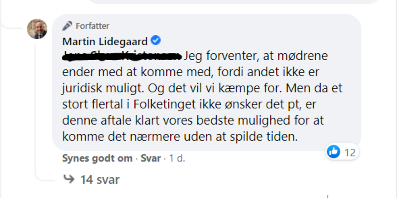 Dokumentation: Her ses Martin Lidegaards svar på spørgsmål på Facebook i går, efter aftalen med regeringen var indgået med Radikale Venstre som et af støttepartierne.