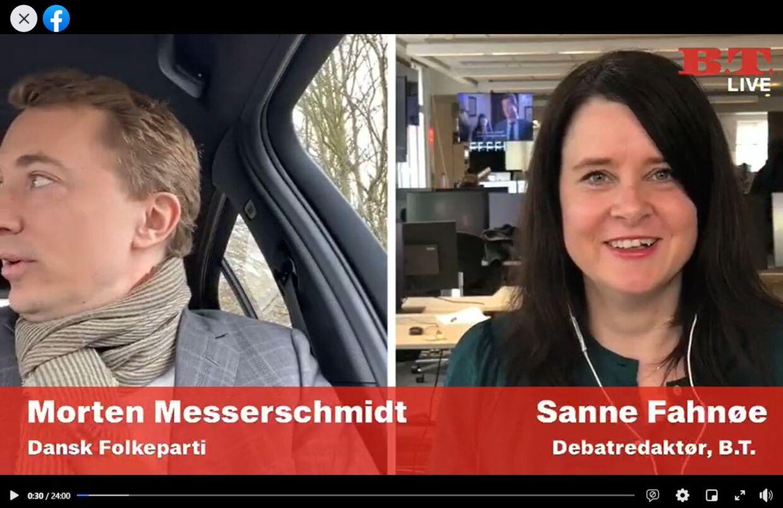 Morten Messerschmidt deltog i B.T. Live fra sin bil på Amager.