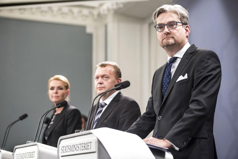 Daværende justitsminister Søren Pind og daværende statsminister Lars Løkke Rasmussen på et pressemøde midt i 2010erne.