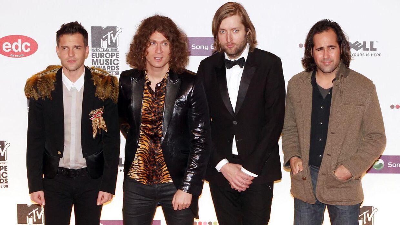 The Killers ankommer til MTV Europe Music Awards i Liverpool i 2008.