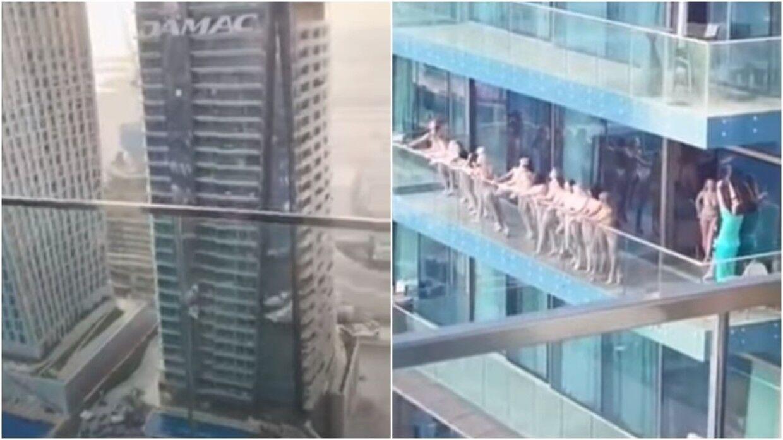 De nøgne kvinder blev også spottet fra et vindue i en nabobygning, hvor en beboer fangende dem på video.