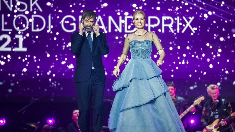 Tina Müller var en af værterne på årets 'Melodi Grand Prix'.
