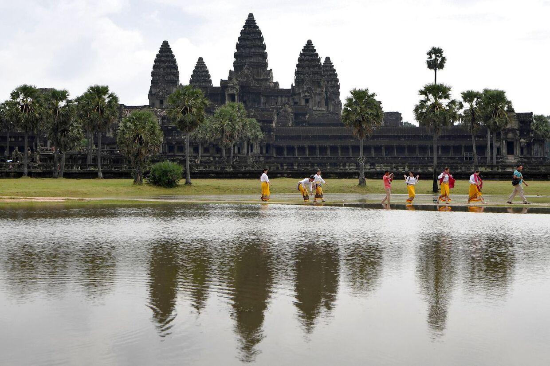 Der kommer ikke mange turister til templerne ved Angkor Wat under coronapandemien.
