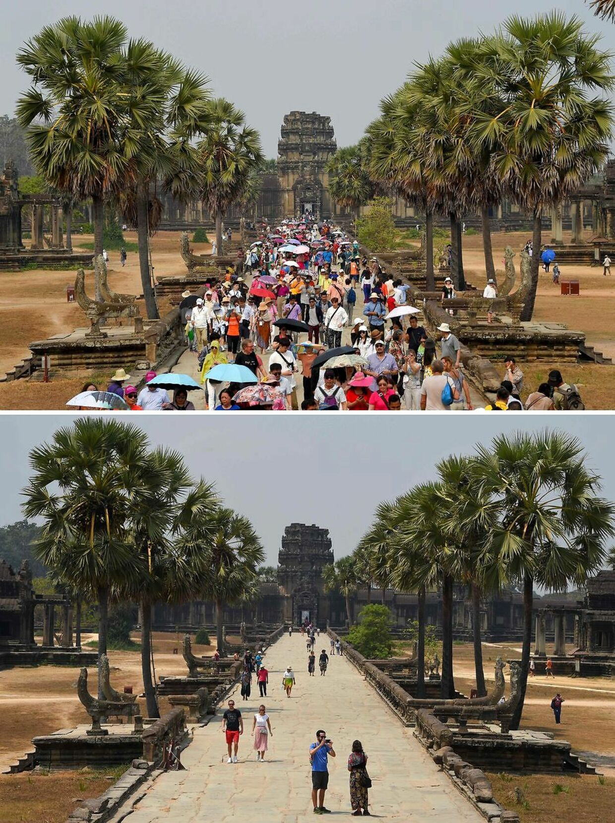 Øverst ses turisterne gå i Angkor Wat 16. marts 2019. Nederst ses de få turister, der kom 5. marts 2020.