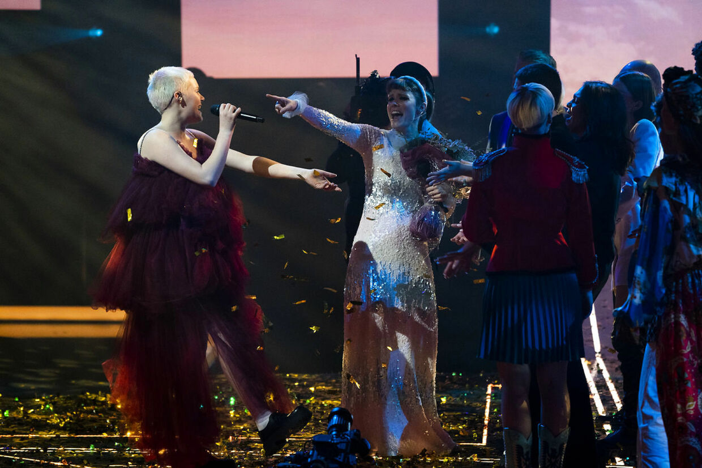 Solveig vinder X Factor-finalen 2021. X Factor-finale, på TV 2 fredag den 9. april 2021. Pooldækning leveret af Ritzau Scanpix. Dækningen kan anvendes vederlagsfrit til redaktionel omtale af programmet. (foto: Martin Sylvest/Ritzau Scanpix 2021).
