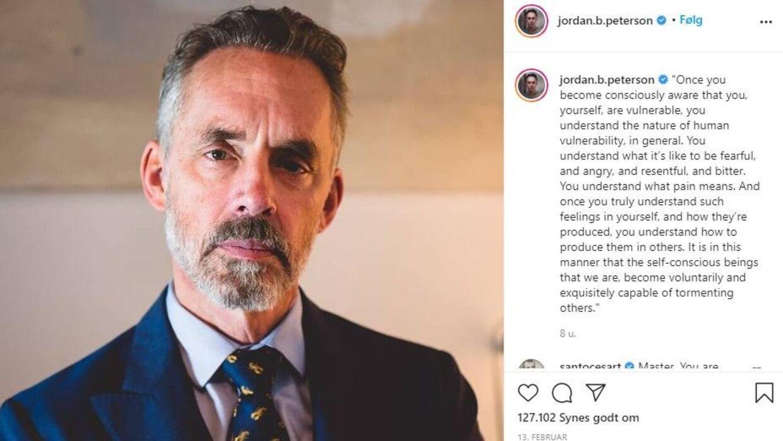 På Instragram deler psykologen flittigt ud af sine filosofier til to millioner følgere. Foto: Jordan Petersons Instagram