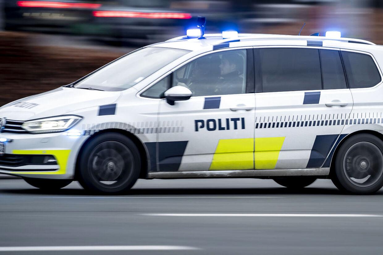 Politibil i København, mandag den 21. december 2020.