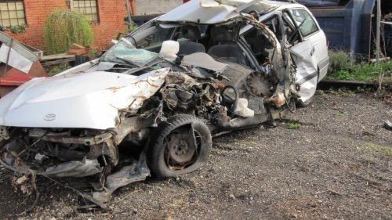 Sådan så Heines bil ud efter ulykken.