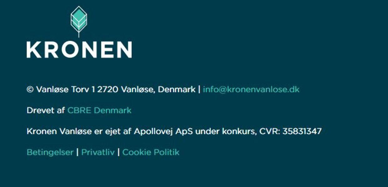 Teksten nederst på Kronens hjemmeside.