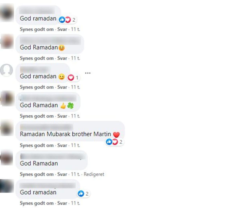 Her ses et udpluk af de tusindvis af Ramadan-hilsner, der er tikket ind i Martin Henriksens kommentarspor. Foto: Screendump Facebook.
