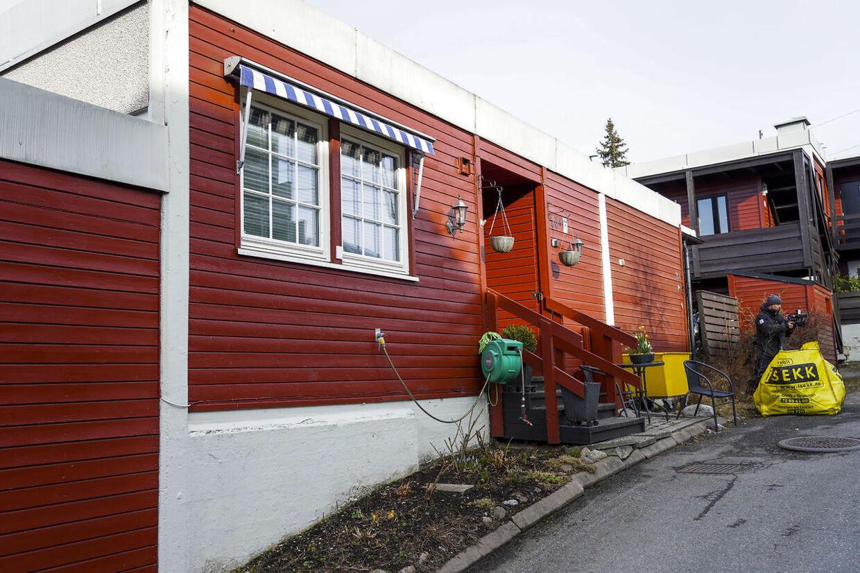Rækkehuset i bydelen Røa i Oslo, hvor Tor Kjærvik mandag aften blev skudt og dræbt.