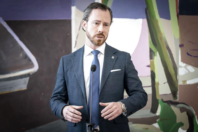 Jakob Ellemann-Jensen mødte pressen tirsdag 13. april 2021.