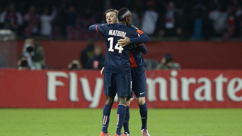 David Beckham og Blaise Matuidi spillede sammen i 2013 i Paris Saint-Germain.