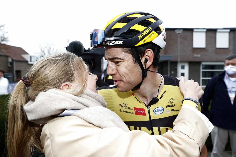 epa09143720 Belgian rider Wout Van Aert (R) of Team Jumbo-Visma celebrates with his wife Sarah De Bie (L) after winning the Amstel Gold Race over 218.6km in Valkenburg, Netherlands, 18 April 2021. EPA/Vincent Jannink
