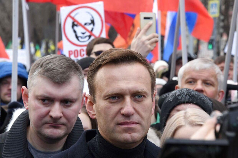 Oppositionspolitikeren Aleksej Navalnyj til demonstration i Rusland, inden han blev forgiftet og siden fængslet.