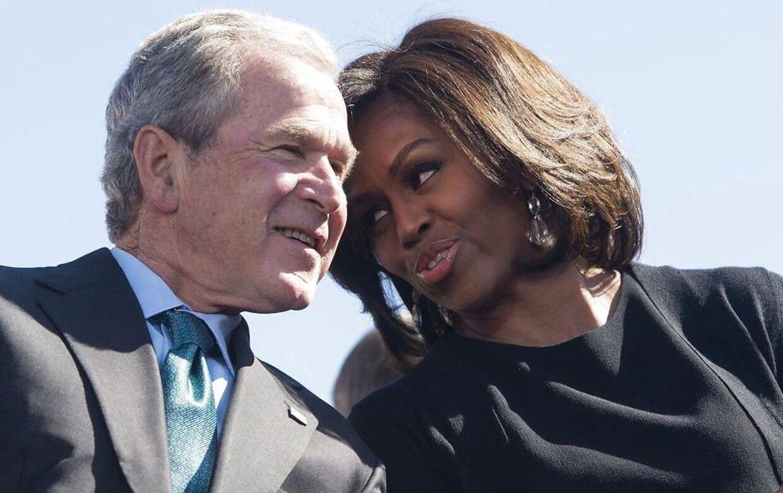 George W. Bush og Michelle Obama.