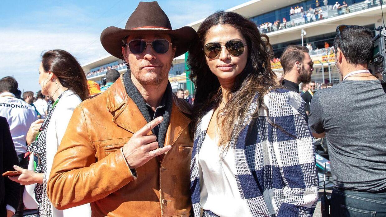 Matthew McConaughey og konen, Camila Alves, under Formel 1 i 2019.