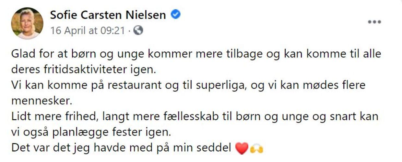 Børn og unge kommer mere tilbage, skrev Sofie Carsten Nielsen efter forhandlingerne om genåbning i sidste uge. Det er dog begrænset, hvor meget 5-8 klasserne kommer tilbage.