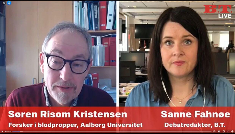 Søren Risom Kristensen var med i B.T. Live, hvor han fortalte om forskellen på de blodpropper, man ser ved AstraZeneca i forhold til p-piller.